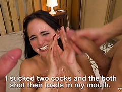 Two guys give Claudia Bavel first real orgasm on porn set