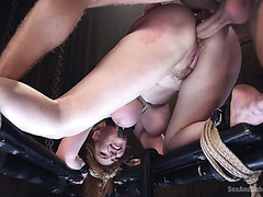 Humiliating BDSM ass banging of curvy redhead sub Lauren Phillips