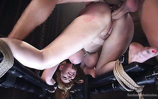 Humiliating BDSM ass banging of curvy redhead sub Lauren Phillips