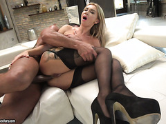 Slavic blondie in stockings, Katrin Tequila, takes hardcore ass fucking
