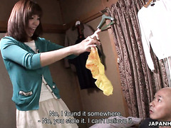 Mature Asian Juri Kitahara fucks her tenant after catching him jerking off with her panties