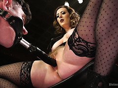 Slave boy pleases mistress Cherry Torn with tongue and face strapon