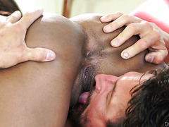 Young black hottie Ocean Pearl gets older white dick in her cooch