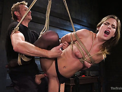 Bitchy blond babe Sydney Cole enjoys brutal hate fucking in rope bondage