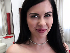 Adorable Russian brunette Cassie C gets her amateur ass roughed by Rocco Siffredi