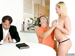 Even a priest can't help poor guy with his attraction to blonde stepsis Bailey Brooke