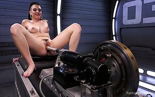 Mega fucking machine pushes Rachael Madori through hardcore orgasms