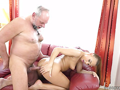 Old fat and bearded dude enjoys fresh young pussy of blonde babe Ornella Morgan