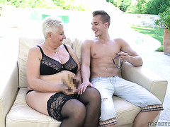 Morbidly obese granny Astrid gets laid with young skinny college boy