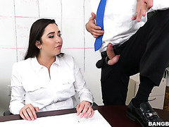 Frustrated with boss's harassment Karlee Grey is pampered by workmate's boner