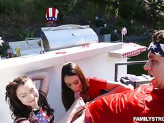 Stepmom Ariella Ferrera and stepdaughter Jennifer Jacobs fuck his son on 4th of July