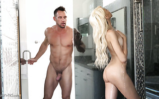Petite seductress Hime Marie tempts bestie's dad to pound her in shower