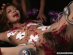 Beautiful Asian slave Aya Amamiya survives bizarre electro torment