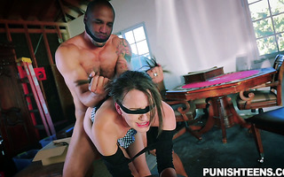 Young skinny Alex Moore enjoys hate fucking in blindfold and bondage