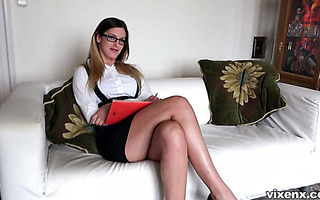 Leggy estate agent Mira Sunset works with her cunt to sell the house