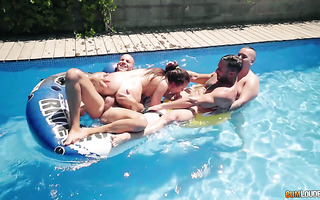Hot Russian Cassie Right is power fucked by Latin hunks and fatso