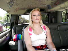 Curvy college teen Daisy Lynne fucks for cash in a bangbus