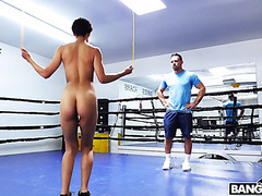Fit ebony Amethyst Banks makes out with white boxing coach