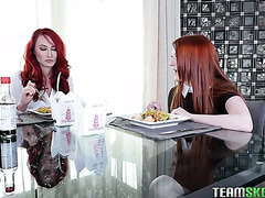 Redhead mom and stepdaughter Kendra James and Crystal Orchid go down on each other