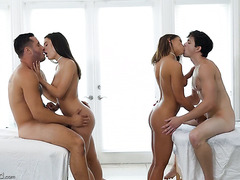 Babes Adriana Chechik and Lana Rhoades please two huge cocks in orgy