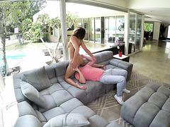 Adriana Chechik catches sneaky stepbro peeking on her masturbating