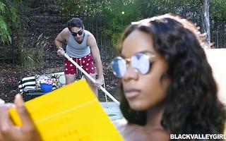 Rich black babe Ana Foxxx handles pool boy's fat white cock