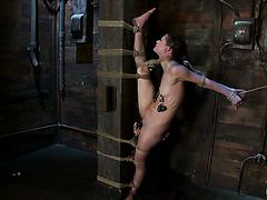 Гибкая крошка Сенси Пёрл измучена связанная на шпагате