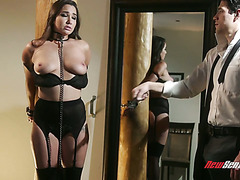 Babe on a leash Karlee Grey is fucked in her wet hairy pussy