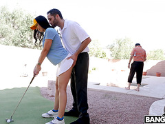 Married babe Rachel Starr is dicked down by golf trainer