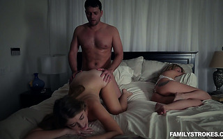 Scared stepdaughter Alyce Anderson gets silently fucked by stepdad at night