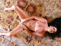Shapely brunette sweetheart Kaley Kade gives tempting masturbation solo