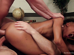 Gifted black hoe Nikki Darling gets DPed and splooged in wild gang bang