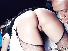 Brazen housemaid Anissa Kate gets boned by black butler and white master
