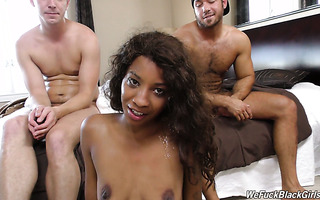 Leggy black sex bomb September Reign is drilled by two white boys