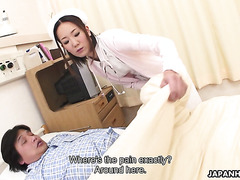 Lil nurse Mika Kojima makes sick patient cum hard by giving a handjob