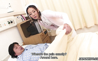 Lil nurse Mika Kojima makes sick patient cum hard by giving a handjob