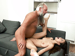 Busty nympho Darcia Lee makes out with fat old dude