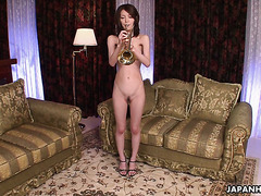 Sensual Asian Anna Kirishima plays trumpet and gets toyed to orgasms