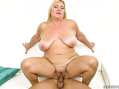 BBW old lady Pam Pink meets the granny fucker