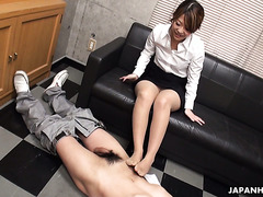 Asian office slut Yuria Takeda gives footjob and gets fucked