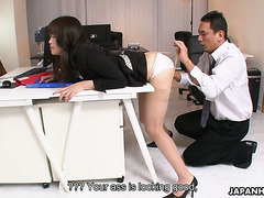 Lazy office girl Maki Hojo is punished by mean boss