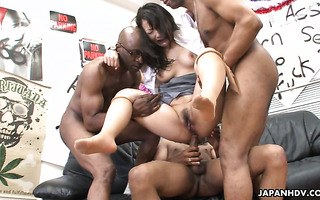 Chiharu Nakai gets her Jap cunt gangfucked by black dudes