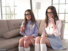 Shy college girls Anita Bellini and Evelina Darling in FFM threeway