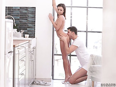 Delightful Russian Sandra Wellness enjoy anal in the kitchen