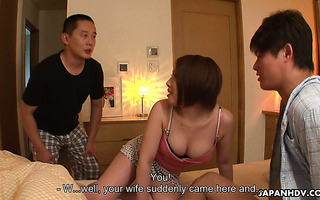 Curvy whore wife Hiromi Tominaga is fucked by husband and his coworker