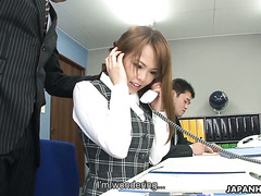 Submissive office babe Saki gets toyed to squirting during sales call