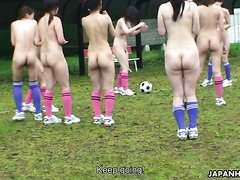 Naked soccer and titjob with adorable Japanese teen