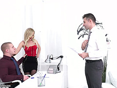 Blonde secretary Helena Valentina enjoys DP in office