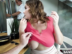 Busty stepsis Natasha Nice is happy to get destroyed by J Mac