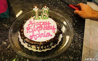 Petite brunette Adria Rae enjoys anal on her 18th birthday